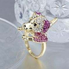 Anillo lindo perrito chapado en oro Precioso anillo de perrito encantador para mujer, chapado en oro de 18K, adornado con diamantes de imitación de varios colores