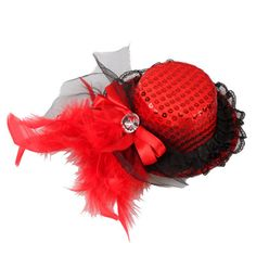 Bowknot Feather Lace Mini Top Hat Hair Clip Red