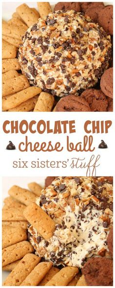 Chocolate Chip Cheese Ball from SixSistersStuff.com   This cheeseball tastes just like eating a delicious slice of chocolate chip cheesecake!! We dipped graham crackers and little chocolate cookies in this delicious dip! It is the easiest dip to make and feeds a crowd!