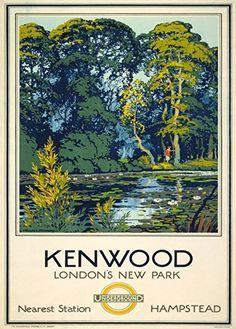 """London Underground - Kenwood, London's New Park"" Glossy Vintage Railway Poster Art Print Train Posters, Railway Posters, London Transport Museum, Public Transport, Tourism Poster, Uk Tourism, Kensington, London Poster, Nature Posters"
