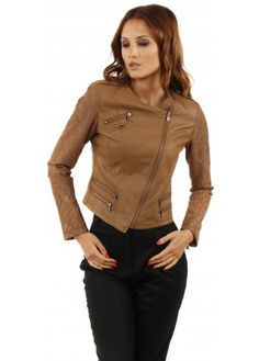 Designer Desirables Tan Fitted Leather Biker Jacket With Lace Sleeves #leatherlook #leather