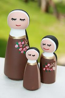 Painted Saints - St. Therese (includes link to purchase inexpensive peg dolls)