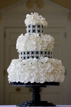 Beautiful Cake Pictures: Beautiful Textured Three Tiered Wedding Cake: Black and White Cakes, Cakes with Flowers, Wedding Cakes