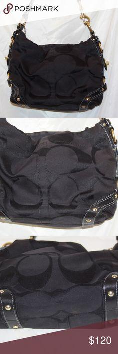 1476c67725 Coach Carly 10619 Black Signature Leather Canvas Coach Carly 10619 Black  Signature Leather Canvas Shoulder Bag