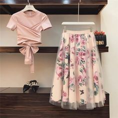 Mar 2020 - Women T Shirt Mesh Skirts Suits Bowknot Solid Tops Vintage Floral Skirt Elegant Woman Two Piece Set Indian Designer Outfits, Designer Dresses, Designer Clothing, Stylish Dresses, Fashion Dresses, Dress Casual, Dress Indian Style, Mesh Skirt, Swing Skirt