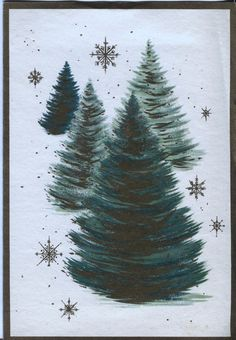 Vintage Christmas Card: Green and Gold Christmas Trees - Glitter