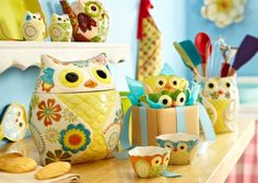 Owl Collection - Cookie Jar - Bowls - pitcher  <3