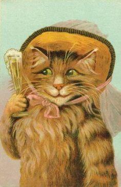 Champagne Cat Postcard.