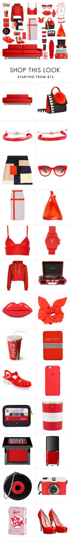 """""""The Red Life"""" by cloudwatcher101 ❤ liked on Polyvore featuring Thrive, Les Petits Joueurs, Domo Beads, MSGM, Equipment, Bibhu Mohapatra, Jil Sander, T By Alexander Wang, Vince Camuto and Boohoo"""