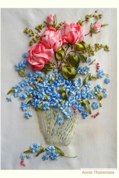 Roses and forget-me-nots #ribbonEmbroidery