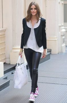 Olivia Palermo never gets it wrong — even in leather pants and pink sneakers!
