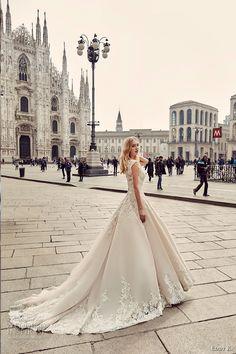 eddy k milano bridal 2017 cap sleeves scoop neckline heavily embellished bodice embellished hem a  line romantic ball gown wedding…