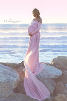 Miriam Gown • Long Sleeve Maternity Gown • Off the Shoulder Dress • Maternity Gown • Renaissance Gown • Soft Knit Maternity Gown • Bohemian • by Sew Trendy