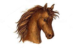sketch horse head of arabian breed. Sport Icons. $6.00