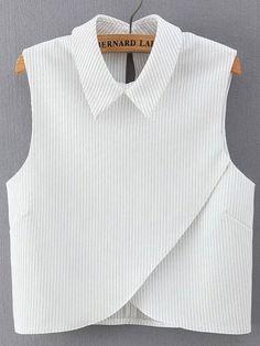 Korean Fashion 2016 Summer Women White Striped Print Cross Blouses Turn-down Collar Sleeveless Casual Crop Tops Shirt Crop Top Shirts, Crop Shirt, Shirt Blouses, Crop Tops, Blouse Styles, Blouse Designs, Casual Outfits, Fashion Outfits, Fashion 2016