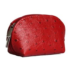 Red Ostrich Leather Coin Purse