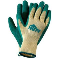 Green rubber dipped work gloves imprinted with your logo or message.  Get promotional Yellow Knit Garden Gloves with Latex Palms at PromotionalGloves.com