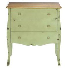 "Distressed wood three-drawer dresser with curved legs.     Product: DresserConstruction Material: WoodColor: GreenFeatures:  HandcraftedThree drawers Dimensions: 33"" H x 29"" W x 16"" D"