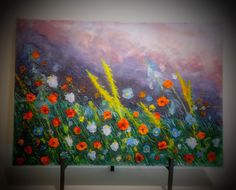 """""""""""Impression of Flowers"""""""" Fused Glass Palette Painting by Diane Quarles"""