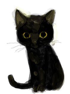 あぶくねこさんのイラスト 「生物-動物-ネコ-ねこ-猫」 #BlackCat