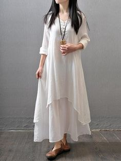 611aa0e920 Casual Asymmetric Long Sleeve Plus Size Maxi Linen Dress. Linen  DressesCotton ...