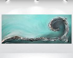 Acrylic Painting Huge Abstract Wall Art Canvas Art Original Blue Colorful Abstract - How To Forge Diy Canvas, Canvas Wall Art, Acrylic Canvas, Sea Art, Diy Painting, Painting Canvas, Abstract Wall Art, Diy Wall Art, Painting Inspiration