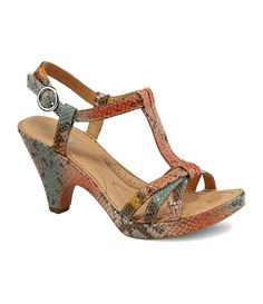 "Born Womens ""Myndy"" T-Strap Crowne Sandal ""Turquoise Snake""  Retails for $150."