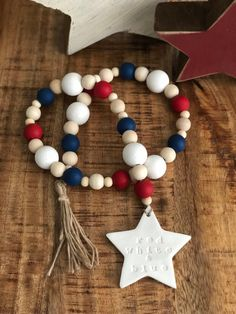 of July Patriotic Star Red White and Blue Farmhouse Wood Bead Decor Wood Bead Garland, Diy Garland, Beaded Garland, Star Garland, Patriotic Crafts, July Crafts, Summer Crafts, Fourth Of July Decor, 4th Of July Decorations