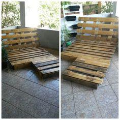 Espreguiçadeira de palete para ambiente interne e externo. #palete #pellete #curso #façavocemesmo  -------------------------------------------------------------------- Aprenda a criar seus próprios móveis feito com madeira de palete .  Curso - Faça você mesmo seus móveis de paletes.  Para comprar, acesse : www.palletsarte.blogspot.com.br