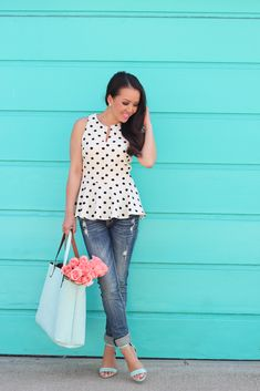 Polka Dot Peplum Top, Distressed Denim Jeans, Reversible Tote and Mint Sandals (each under $65) // details here: http://www.stylishpetite.com/2015/03/polka-dot-peplum-distressed-denim-jeans.html