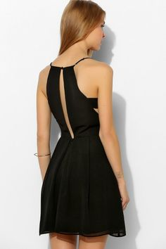 Black Spaghetti Strap Cut Out Flare Dress