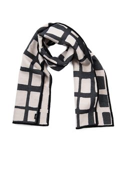 Kensal Check reversible Merino wool scarf, black and linen. 100% Merino wool, woven and made in England.