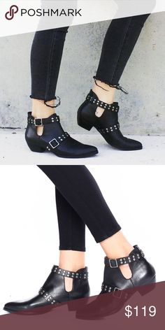 Matisse Neil Studded Bootie Rad slip on black leather bootie with studded buckle straps. Genuine leather. New in box; never worn! Nasty Gal Shoes Ankle Boots & Booties