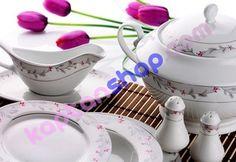 Hoş tasarımlı ince görünümlü güzel bir porselen yemek takımı.