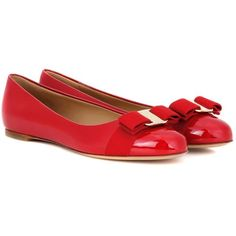 Salvatore Ferragamo Varina Patent Leather Ballerinas ($475) ❤ liked on Polyvore featuring shoes, flats, red, ballerina flats, red patent leather flats, salvatore ferragamo flats, ballet flats and red ballerina flats