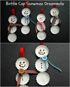 Bottle Cap Snowmen - 20 Genius DIY Recycled and Repurposed Christmas Crafts