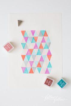 Diy geometric art with simple stamps how about orange 카드 놀이. Eraser Stamp, Karten Diy, Stamp Carving, Diy Inspiration, Stamp Printing, Geometric Art, Craft Activities, Diy Wall, Wall Art