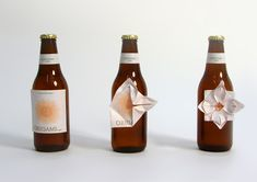 "origami beer label - ""people, in nervous situations, scratch off the label of their beer bottle. Origami label is about making something constructive out of this""- Designer, Clara Lindsten"