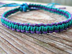 Hemp Bracelet Patterns | Purple and Blue Green Woven Hemp Bracelet by hempkitty on Etsy