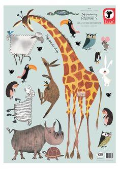 Set van 20 vrolijke dieren muurstickers van Fiep Westendorp voor de kinderkamer Stickervel: 42 x 59 cm √ Premium Quality √ Supermatte uitstraling √ Geen witte of transparante randen