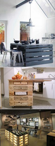 DIY Kitchen Island Of Pallets  meubles de cuisine ilot desserte table avec des palettes recyclees