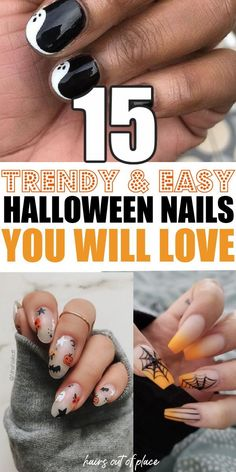 15 Halloween nail designs to go with your Halloween costume that are cute, simple, and clever! Whether you're painting acrylic nails with fun Halloween designs or your own, you'll love these fun, easy, pumpkin, and spooky nails to be part of the best DIY Halloween costume idea for women and girls.