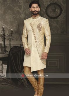 Golden Cream Brocade Silk Indo Western...
