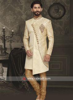 Buy Indo Western Sherwani for Festive Season Sherwani For Men Wedding, Wedding Dresses Men Indian, Wedding Dress Men, Wedding Suits, Sherwani Groom, Nigerian Men Fashion, Indian Men Fashion, Mens Fashion Suits, Women's Fashion