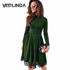 b2698464d8a3af Autumn Women Party Dresses O Neck Long Sleeve A-Line Slim Vestido Lace  Spliced Sexy Dress