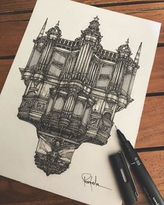 Click the image to see more of Alex Pantela's work. Cool Art Drawings, Amazing Drawings, Pencil Art Drawings, Art Sketches, Sketches Of Buildings, Famous Buildings, Architecture Drawing Sketchbooks, Architecture Concept Drawings, Architecture Art