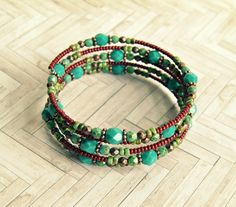 tristan turquoise and copper beaded memory wire bracelet, bohemian, wrap bracelet,copper