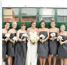 Pewter bridesmaid dresses. Love this color!