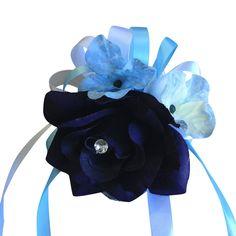 Wrist Corsage - Eggplant Purple and Baby Blue Hydrangea and Ribbon