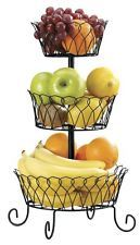 New Sturdy Iron Decorative Fruit & Vegetable Wire Basket 3 Tier  Free Shipping